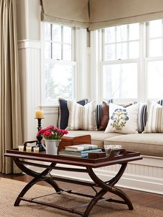 Living Room Bay Window Inspirational Ideas For Cozy Window Seat. Choose To Use Modern Bay Window For Home TheyDesign Net . Home and Family Bay Window Benches, Window Seat Cushions, Window Seats, Window Nooks, Window Curtains, Little Corner, My Living Room, Small Living, Home Improvement Projects