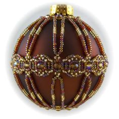 Infinity Ornament Cover Kit Topaz/Gold - Bead Patterns by Michelle Skobel