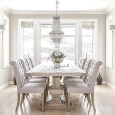 white dining room table brilliant white dining room furniture best 25 table for GUDKWAT - Home Decor Ideas - Best Pins Elegant Dining Room, Luxury Dining Room, Formal Dinning Room, Luxury Living, Modern Living, Dining Table Design, Rustic Dining Tables, White Dining Room Table, Dining Table Chairs