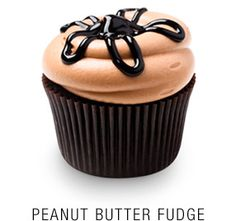 Georgetown Cupcake | DC Cupcakes | Menu | Valrhona chocolate cupcake with a fudge core topped with a peanut butter frosting and fudge star drizzle