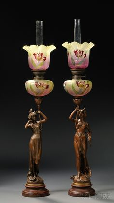 Pair of Art Nouveau Figural Spelter Oil Lamps with Glass Shades, early 20th century