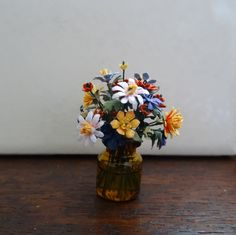 Dollhouse Miniature bouquet of paper flowers in one inch scale by Kiki Bean.