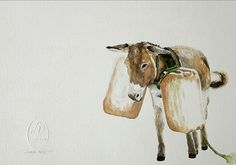 """Donkey """"My Burdens"""" Artist Lorna Pauls Watercolors on quarter sheet Bockingford paper Done March 2017 Watercolour Art, Watercolors, Donkey, Moose Art, Wildlife, March, Paper, Artist, Animals"""