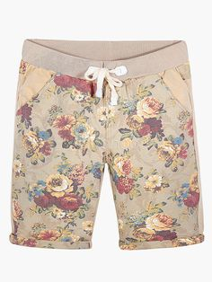 Khaki Peony Pattern Elastic Waist Cotton Shorts - Milanoo.com