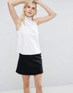 ASOS Shell Top in Ponte with Pretty Shirred Neck - White