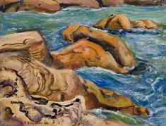 """Cape Breton,"" Arthur Lismer, oil on aluminum, 12 x 15 private collection. Tom Thomson, Group Of Seven, Cape Breton, Art Auction, Online Art, Oil, Nova Scotia, Collection, Artist"