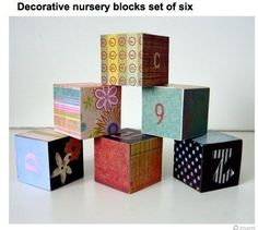 Make your own building blocks with letters, numbers, colors, flowers....