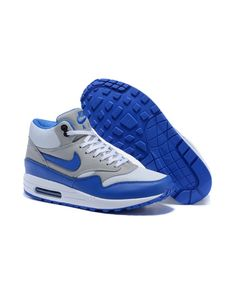 online retailer 697ef 7510c Women s Nike Air Max 1 Mid FB Boots Grey Royal Blue Sale