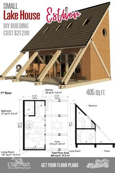 Cute Small House Floor Plans A-Frame Homes Cabins Cottages Containers This small cabin plan is designed to attract people s attention At 21200 estimated construction cost for 400 sq ft of livable space it s not too bad tinyhouse Small Cabin Plans, Small House Floor Plans, Lake House Plans, A Frame Cabin Plans, Small Lake Houses, Cute Small Houses, Small Cabins, The Plan, How To Plan