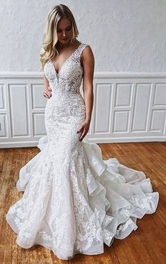 Mermaid Lace Wedding Dress,Mermaid Open back Wedding Dress from Sancta Sophia Meerjungfrau Spitze Brautkleid, Meerjungfrau Open back Brautkleid · Sancta Sophia · Online-Shop Powered by Storenvy Backless Mermaid Wedding Dresses, Mermaid Evening Dresses, Backless Wedding, Dream Wedding Dresses, Bridal Dresses, Wedding Dress Trumpet, Mermaid Wedding Dress With Sleeves, Mermaid Gown Wedding, Event Dresses