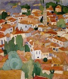 """Landscape by Spyros Papaloukas Greek member of the """"Generation of the Thirties"""" school of Greek artists who emphasized spiritualism and national tradition after the Greek loss of Asia Minor in 1922 -akin to Expressionism (visitgreece - wikiart) Greek Paintings, Oil Paintings, Mediterranean Art, Cityscape Art, Impressionist Paintings, Impressionism, Greek Art, Classical Art, Conceptual Art"""