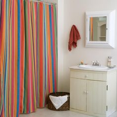 Le Jardin Stripe Shower Curtain - Fresh colors take center stage with the Le Jardin Stripe Shower Curtain. With vertical stripes in vibrant, multi-colored pastels, this curtain adds li...