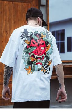 Check out this Snake Demon unisex crewneck t-shirt part of the Hishika Japanese streetwear Japanese collection. T Shirt Streetwear, Style Streetwear, Japanese Streetwear, Streetwear Fashion, Streetwear Clothing, Men Street, Street Wear, Kleidung Design, Style Japonais