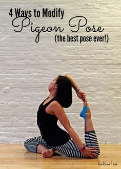 Pigeon pose is one of the all-time best hip opening stretches in yoga. Learn how to modify pigeon pose to open your hips and stretch you out. Yoga Fitness, Fitness Tips, Fitness Motivation, Pidgeon Pose, Yoga Inspiration, Fitness Inspiration, Hip Opening Stretches, Yoga Bewegungen, Stress Yoga