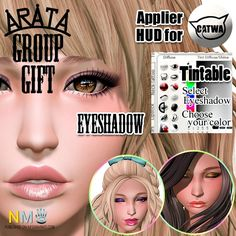 Arata Eyeshadow Group Gift Applier HUD The eyeshadow applier is tintable and it is for Catwa heads. This is a free group gift from Arata. Catwa and Maitreya also get…