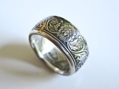 British India, Victoria One Rupee Coin Ring. 1888. Silver .917% OSHEACOINRINGS.COM