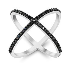 Black and White 925 Silver Cubic Zirconia CZ Criss-Cross Single 'X' Long Ring *** Learn more by visiting the image link. (This is an affiliate link and I receive a commission for the sales) Black Silver, 925 Silver, Black And White, King Ring, Criss Cross, Jewelry Collection, Jewelry Making, Bling, Gemstones