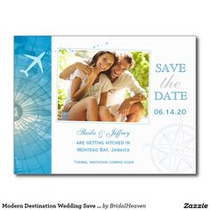 Shop Modern Destination Photo Wedding Save the Date Announcement Postcard created by BridalHeaven. Save The Date Invitations, Save The Date Postcards, Save The Date Cards, Photo Save The Date, Destination Wedding Save The Dates, Destination Weddings, Modern Save The Dates, Nautical Wedding, Wedding Matches