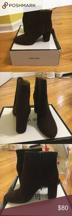 Brown suede booties Gorgeous chocolate brown suede booties. Never worn but slightly scuffed from storage. Perfect for fall. Nine West Shoes Ankle Boots & Booties