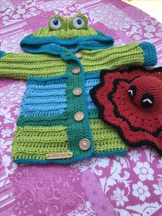 Frog baby cardi and deadpool sniggle crochet