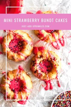 These mini strawberry bundt cakes are my way of welcoming spring into the year. Colorful, light, fluffy & fresh and of course, sweet. #strawberries #strawberryrecipe #minicakes #bundtcakerecipe #easyrecipe