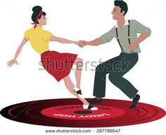 Young Caucasian couple dressed in late 1940s early 1950s fashion dancing lindy hop on a vinyl record, no transparencies, EPS 8