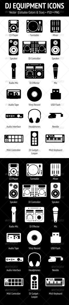 DJ Equipment Icons Set #GraphicRiver A set of 18 dj equipment & tools icons. It's vector and changeable.This pack includes: 2-way Speaker 3-way Speaker Audio Interface Audio Tape CD Player Controller Effector Gadget Headphones Mic Midi Controller Midi Keyboard Mixer Needle Radio Mic Turntable USB Flash Vinyl Record Files: EPS (10) AI (CS3) PSD (CS3) Transparent PNG (512×512) Don't forget rate this item if you like! Follow me on GraphicRiver to get my latest designs. Thank you! You might…