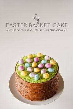 Easy Easter Basket Cake | a DIY by Carrie Sellman of TheCakeBlog.com.  Fun cake to make with kids - esp. the messy marshmallow pulling part they are sure to love!