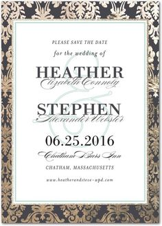 Recently engaged? Share the news with loved ones with this elegant victorian save the date design.