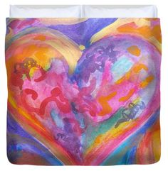 My Colorful Heart Duvet Cover (King) by Expressionistart studio Priscilla Batzell.  Available in king, queen, full, and twin.  Our soft microfiber duvet covers are hand sewn and include a hidden zipper for easy washing and assembly.  Your selected image is printed on the top surface with a soft white surface underneath.  All duvet covers are machine washable with cold water and a mild detergent.