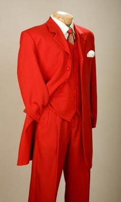 Fashionable Fire Engine Red Mens Zoot Suits; just too gangsta