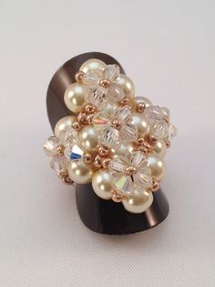 Chunky Bling Ring Pearl And Champagne Miyuki Glass Beads, Glass Pearl And Crystal Bi-Cone