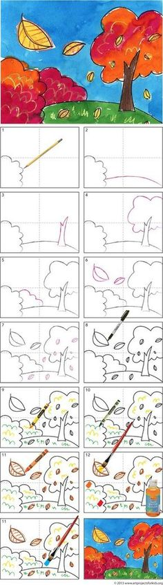 fall art projects for kids Art Projects for Kids: How to Draw Fall Tree Tutorial. An easy way to add perspective to a landscape. Fall Art Projects, School Art Projects, Projects For Kids, Drawing For Kids, Art For Kids, Drawing Art, Drawing Ideas, House Drawing, Drawing Step