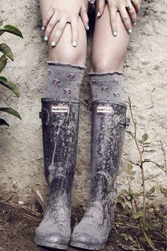 knee socks and wellies
