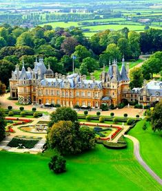 : Waddesdon Manor is a country house in the village of Waddesdon, in Buckinghamshire, England. The house was built in the Neo-Renaissance style of a French château between 1874 and 1889 for Baron Ferdinand de Rothschild Beautiful Castles, Beautiful Buildings, Beautiful Places, English Manor, English Countryside, Formal Gardens, Modern Gardens, Japanese Gardens, Small Gardens