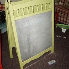 from crib to easel  so smart!  wish i would've kept my daughters crib