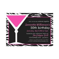 Fun Zebra Pink 50th Birthday Invitations    A classy, elegant and fun way to announce the upcoming 50TH birthday party you're hosting with these great invitations.