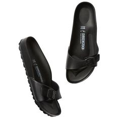 Birkenstock Women Madrid EVA ($30) ❤ liked on Polyvore featuring shoes, sandals, black, black shoes, lightweight waterproof shoes, traction shoes, waterproof shoes and birkenstock