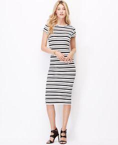 Image of Striped Ponte Short Sleeve Dress