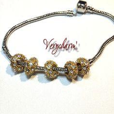 Perle strass dorée pour bracelet