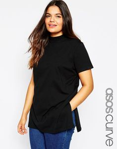 ASOS CURVE Longline T-Shirt with High Neck