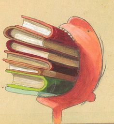 """Illustration from """"The Incredible Book Eating Boy"""" by Oliver Jeffers. I wonder if the boy could fit a sanglewich in his mouth? Oliver Jeffers, I Love Books, Good Books, Books To Read, Library Books, Mini Library, Children's Book Illustration, Book Worms, Book Lovers"""