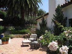 Spanish Patio, Spanish Exterior, Spanish Style Homes, Spanish Colonial, Walk In Shower, Rental Property, Santa Barbara, Lawn And Garden, Gardens