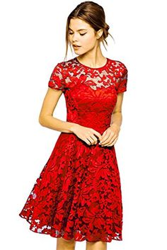 Amoluv Women Round Neck Short Sleeve Pleated Lace Slim Dress Red, Medium