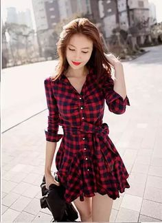 2016 Korean Slim Long Sleeved Plaid Dress Autumn Winter Dress Casual ITC187. #Unbranded #Casual #Casual
