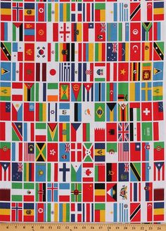 Cotton Our World 2016 Olympics National Flags Flag Cotton Fabric Print by the Yard (C5391)