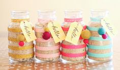 Adorable mason jars! Washi tape makes SUCH a big difference! ---- DIY Beauty Basic: Peppermint Sugar Scrub
