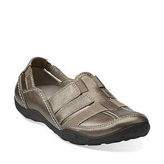 Haley Stork in Pewter Leather - Womens Shoes from Clarks Flats With Arch Support, Clarks Originals, Shoe Deals, Leather Slip Ons, White Leather, Boots Online, Brown Sandals, Casual Shoes, Women's Casual