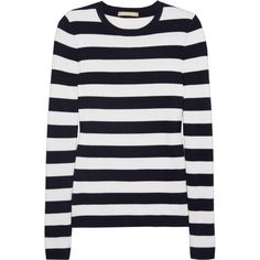 Michael Kors Collection Striped cashmere sweater ($217) ❤ liked on Polyvore featuring tops, sweaters, shirts, blusas, white, white striped shirt, white shirt, striped shirt, cashmere sweater and white cashmere sweater