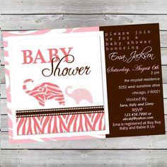 Wild Safari Baby Girl Shower Invitation Zebra by LiveBrightDesigns, $14.99